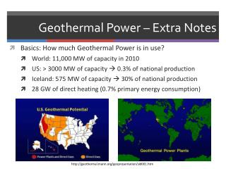 Geothermal Power – Extra Notes