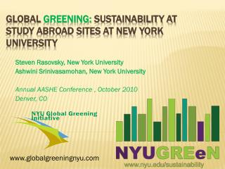 Global  Greening:  Sustainability at Study Abroad Sites at New York University