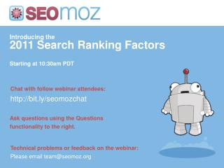 Introducing the 2011 Search Ranking Factors