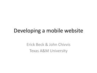 Developing a mobile website