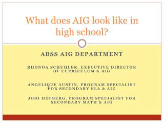 What does AIG look like in  high school?