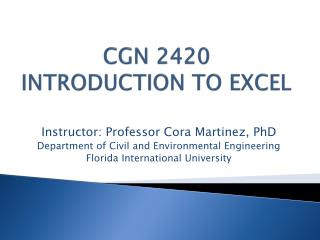 CGN 2420 Introduction to Excel