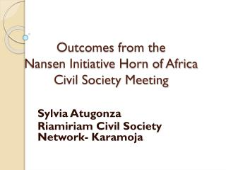 Outcomes from the  Nansen Initiative Horn of Africa  Civil Society Meeting