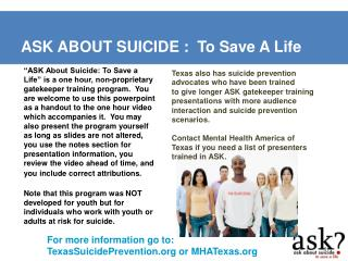 ASK ABOUT SUICIDE :  To Save A Life