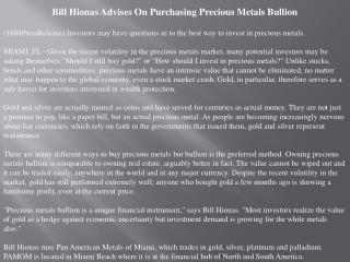 bill hionas advises on purchasing precious metals bullion