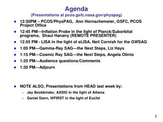 Agenda (Presentations at  pcos.gsfc.nasa.gov/physpag )