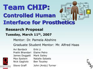Team CHIP: Controlled Human  Interface for Prosthetics
