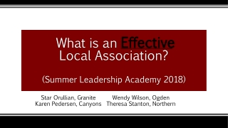 What is an Effective Local Association? (Summer Leadership Academy 2018)