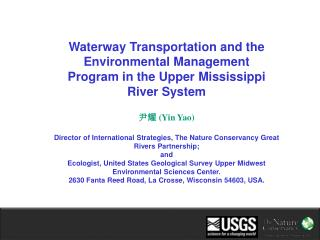 Waterway Transportation and the Environmental Management Program in the Upper Mississippi River System