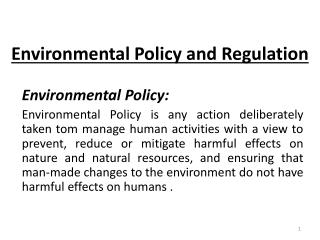 Environmental Policy and Regulation