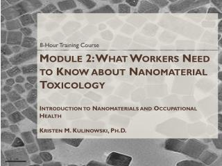 Module 2: What Workers Need to Know about Nanomaterial Toxicology  Introduction to Nanomaterials and  Occupational Heal
