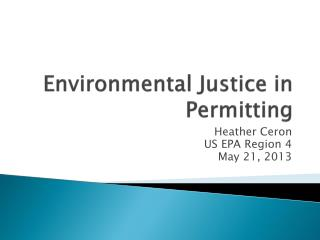 Environmental Justice in Permitting