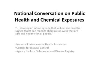 National Conversation on Public Health and Chemical Exposures