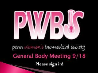 General Body Meeting 9/18