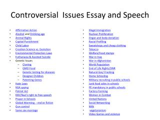 Controversial  Issues Essay and Speech