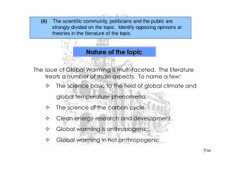 Nature of the topic