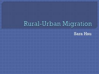 Rural-Urban Migration