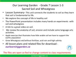 Our Learning Garden  - Grade 7 Lesson  1-3  Sacred Soil and Wheatgrass