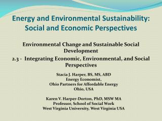 Energy and Environmental Sustainability:  Social and Economic Perspectives