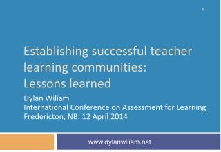 Establishing  successful  t eacher  l earning communities: Lessons learned