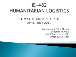 IE-482  HUMANITARIAN LOGISTICS