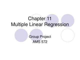 Chapter 11 Multiple Linear Regression