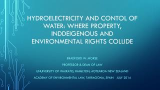Hydroelectricity and  Contol  of Water: where property,  inddeigenous  and environmental rights collide