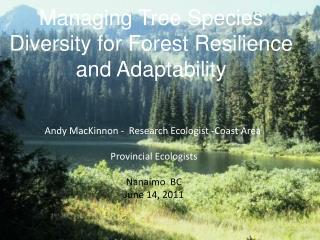 Managing Tree Species Diversity for Forest Resilience and Adaptability