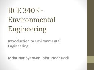 BCE 3403 - Environmental Engineering