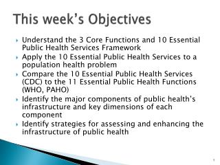 This week's Objectives
