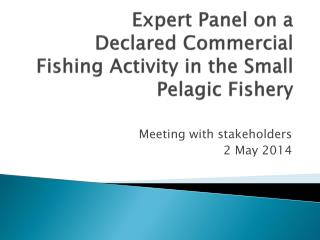 Expert Panel on a  Declared Commercial Fishing Activity in the Small Pelagic Fishery
