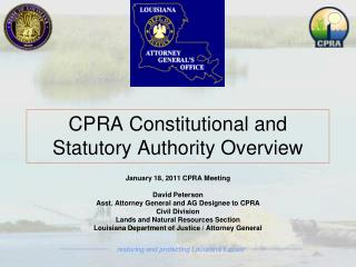 CPRA Constitutional and Statutory Authority Overview
