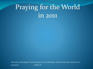Praying for the World in 2011