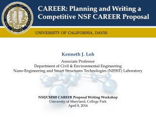 CAREER: Planning and Writing a Competitive NSF CAREER Proposal