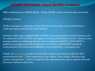 O'Reilly Submission: Cloud Identity Cookbook