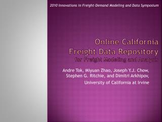 Online California Freight Data Repository for Freight Modeling and Analysis