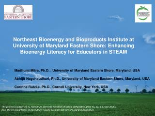 Northeast Bioenergy and  Bioproducts  Institute at University of Maryland Eastern Shore: Enhancing Bioenergy Literacy fo