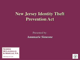 New Jersey Identity Theft Prevention Act