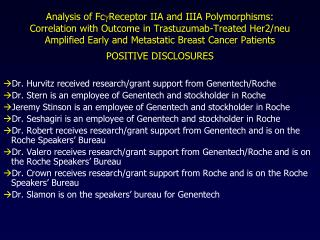 Dr. Hurvitz received research/grant support from Genentech/Roche Dr. Stern is an employee of Genentech and stockholder i