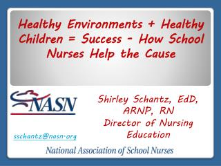 Shirley Schantz, EdD, ARNP, RN Director of Nursing Education