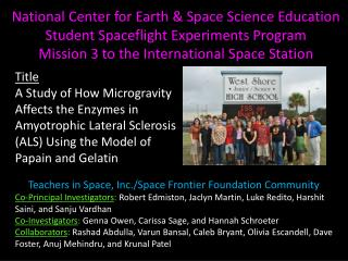 National Center for Earth & Space Science Education Student Spaceflight Experiments Program Mission 3 to the Internatio