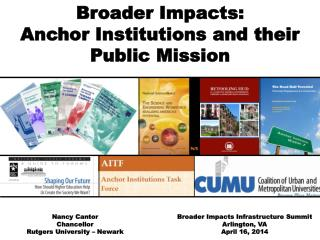 Broader Impacts: Anchor Institutions and their Public Mission