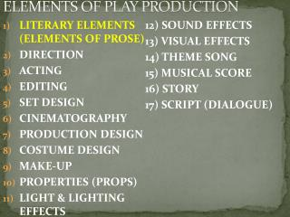 ELEMENTS OF PLAY PRODUCTION
