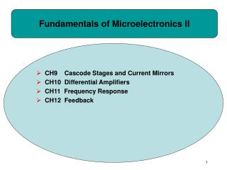 Fundamentals of Microelectronics II