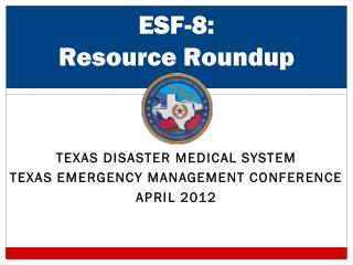 ESF-8: Resource Roundup