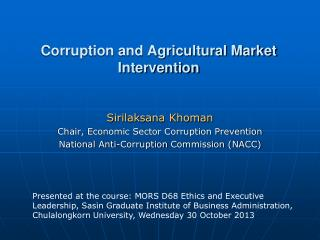 Corruption and Agricultural Market Intervention