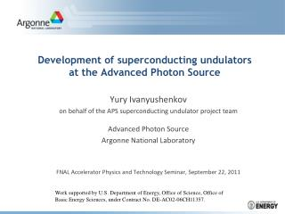 Development of superconducting undulators at the Advanced Photon Source