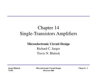 Chapter 14 Single-Transistors Amplifiers