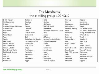 The Merchants the e-tailing group 100 4Q12