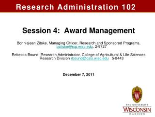 Research Administration 102